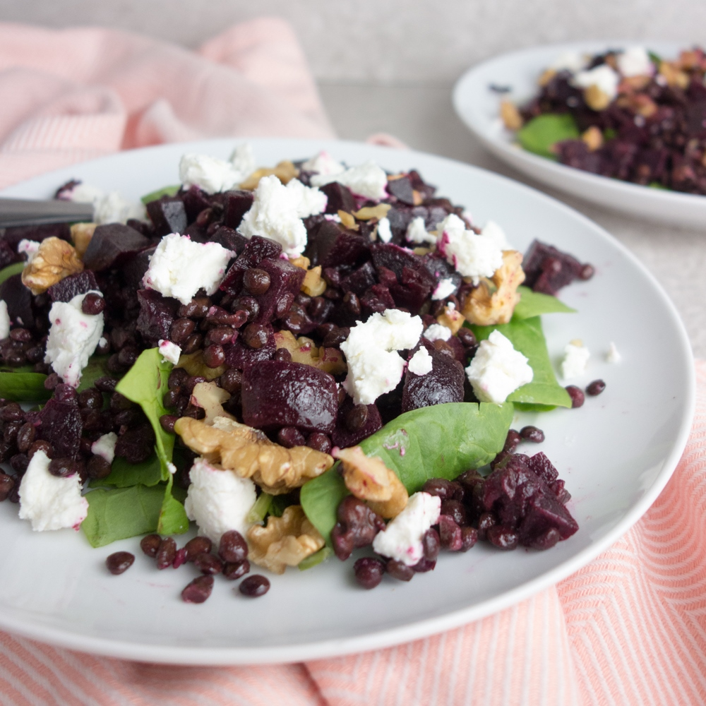 Beetroot + Goats Cheese Lentil Salad