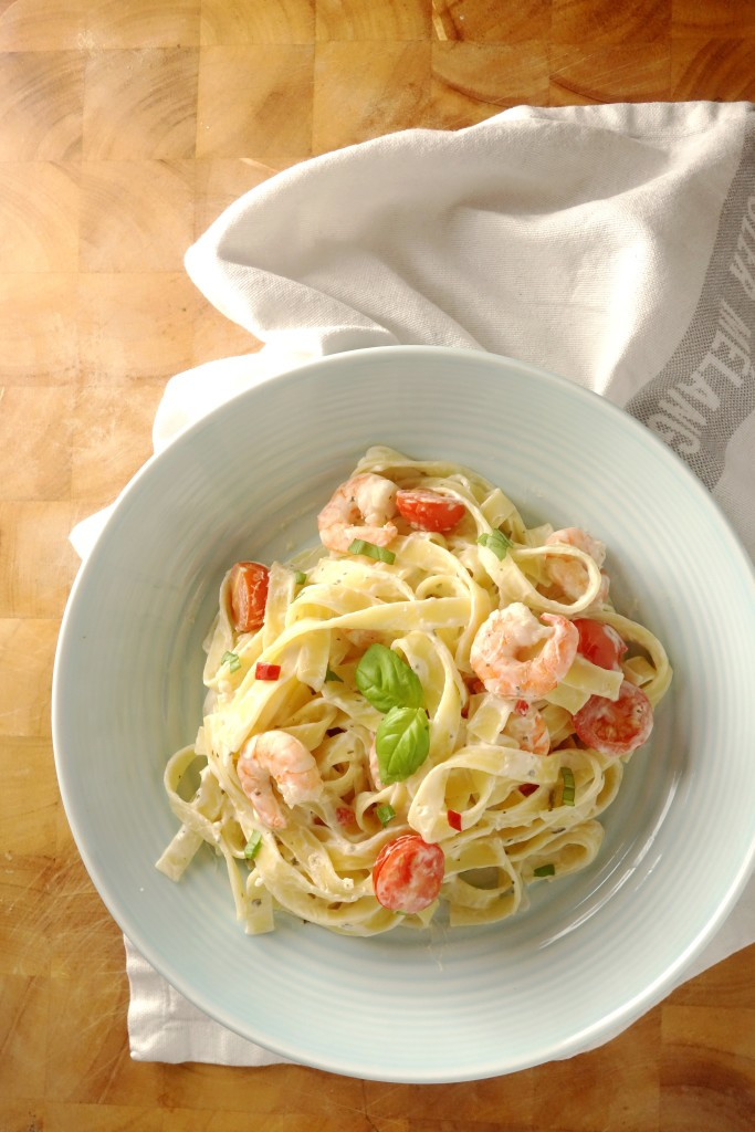 garlic chili prawn tagliatelle