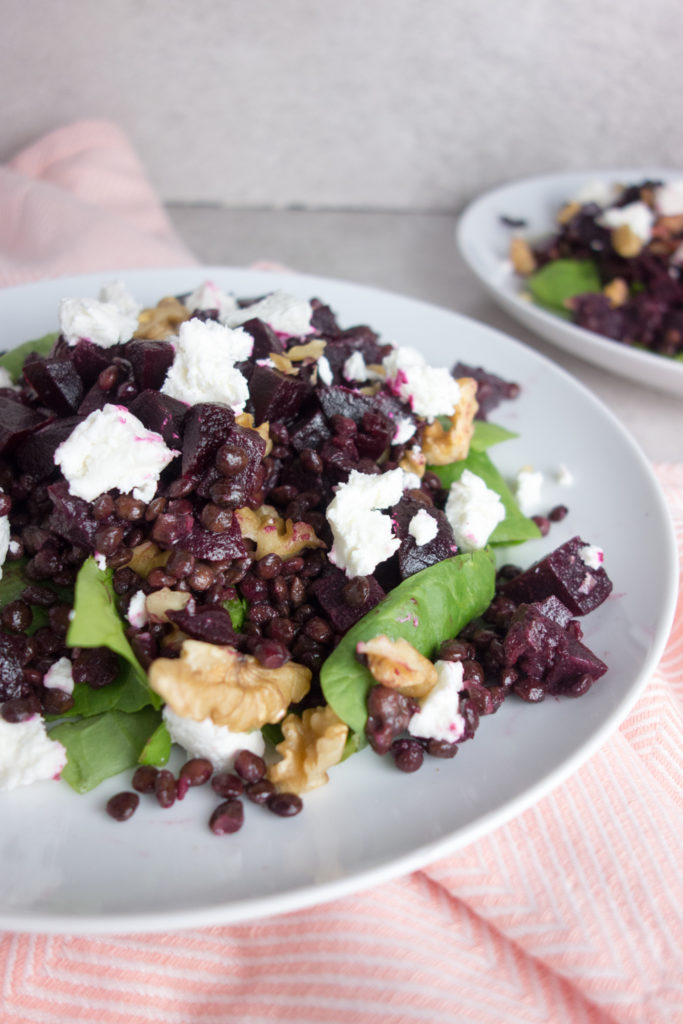 beetroot goats cheese lentil salad