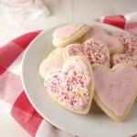valentines iced strawberry sugar cookies