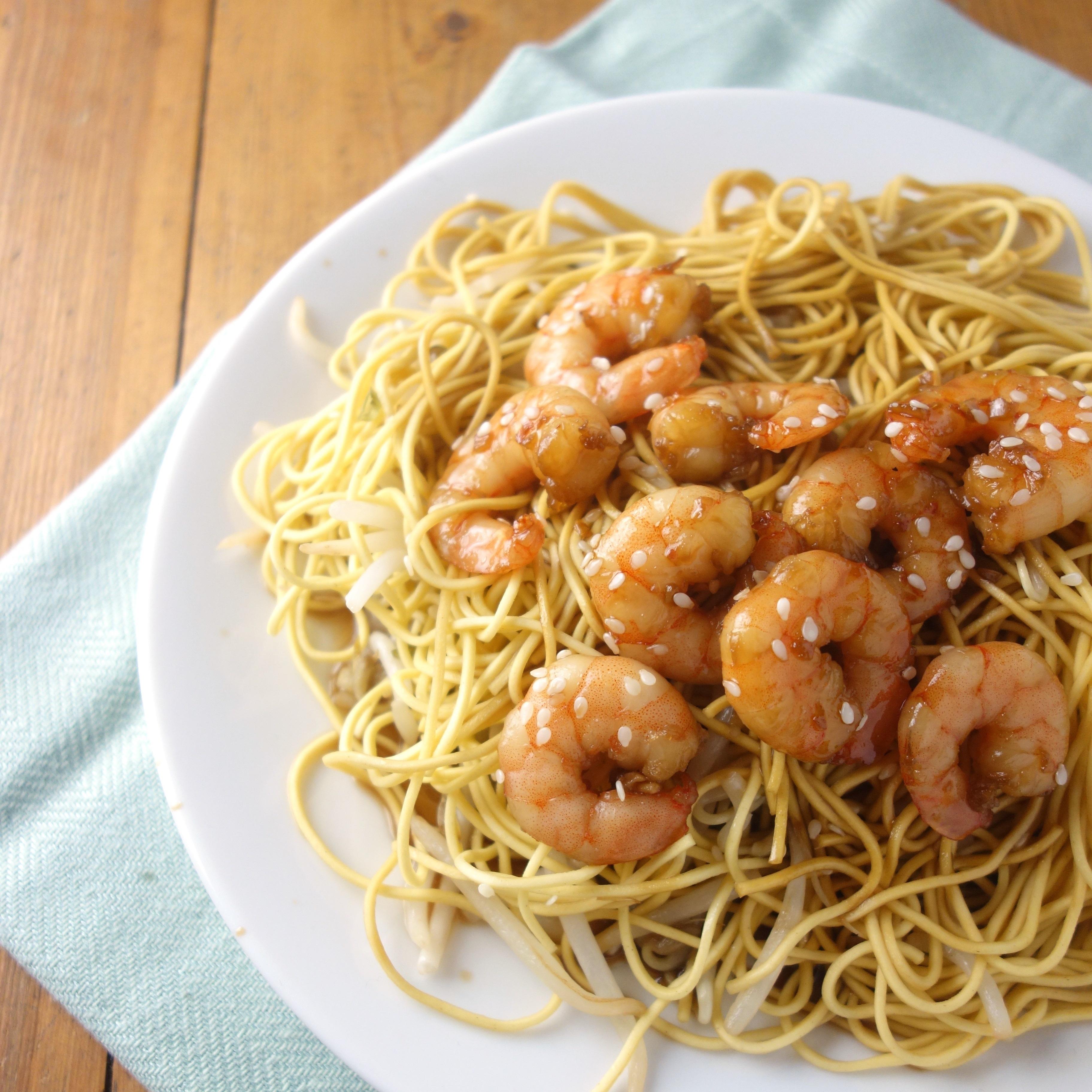 Teriyaki Glazed Prawns + Sesame Noodles