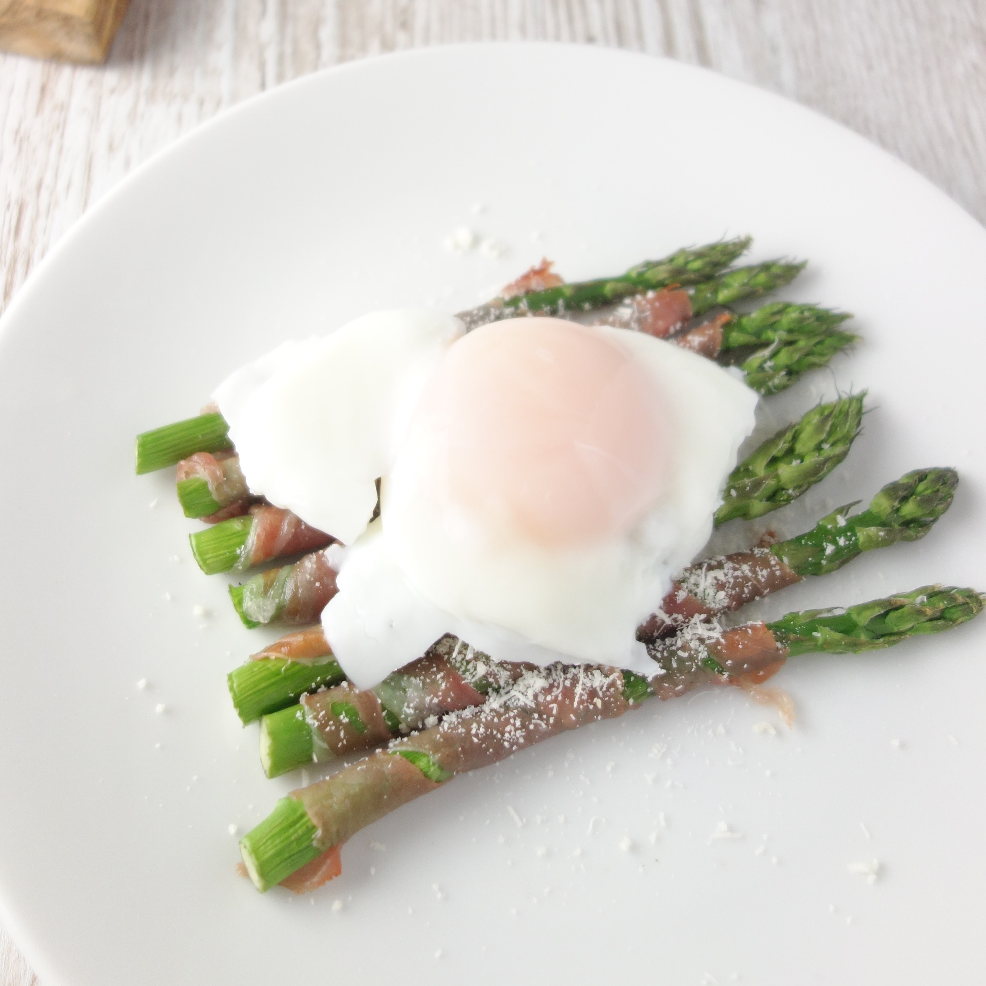 Prosciutto Wrapped Asparagus + Poached Egg