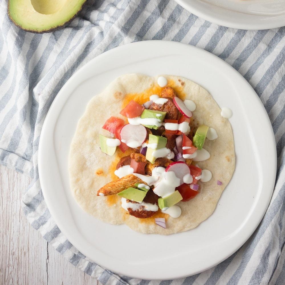 Chicken Chorizo Tacos + Avocado Salsa