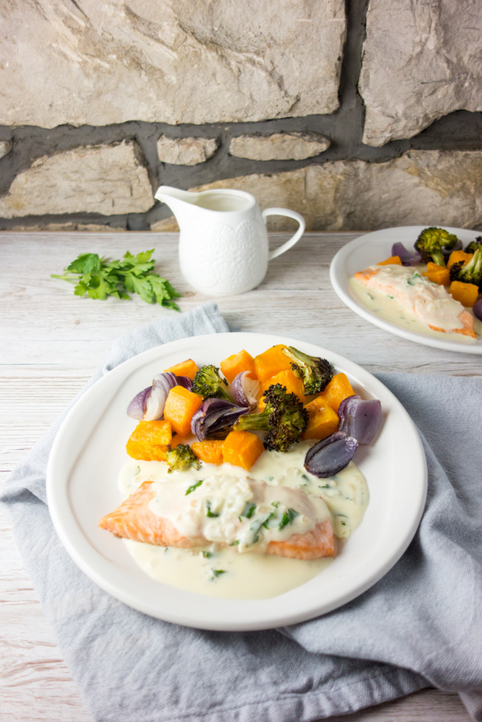 Baked Salmon + White Wine Cream Sauce - A Dash of Ginger
