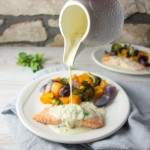 Baked Salmon + White Wine Cream Sauce