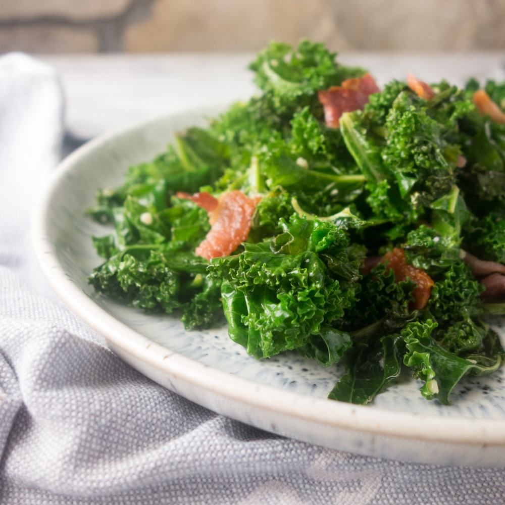 Garlic Kale with Crispy Bacon