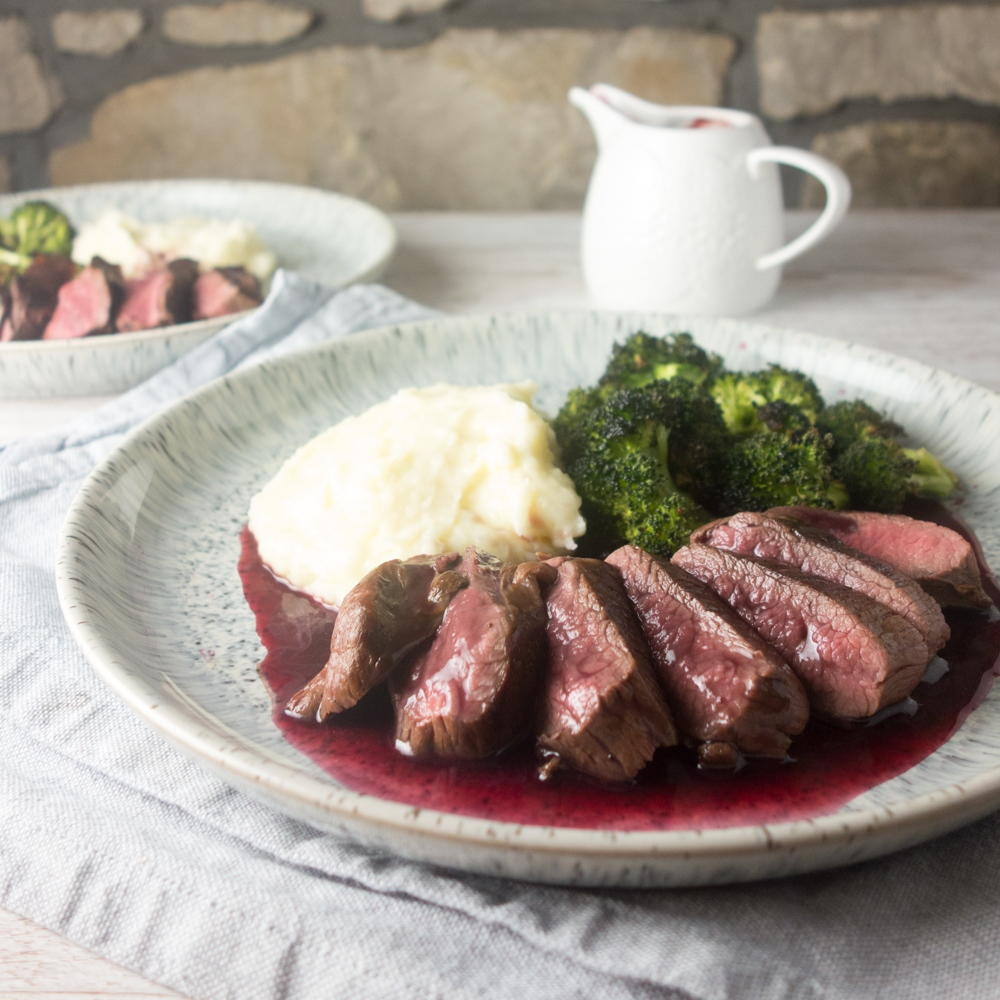 Pan-fried Venison + Blackberry Sauce