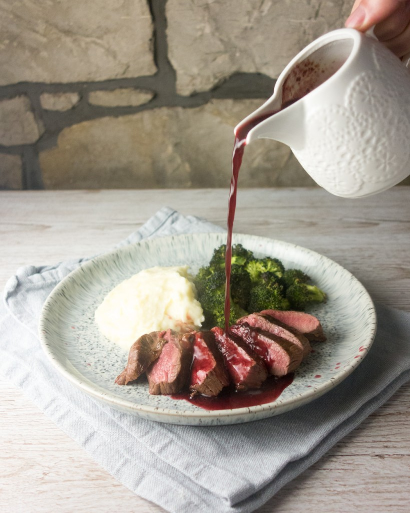 pan fried venison red wine blackberry sauce