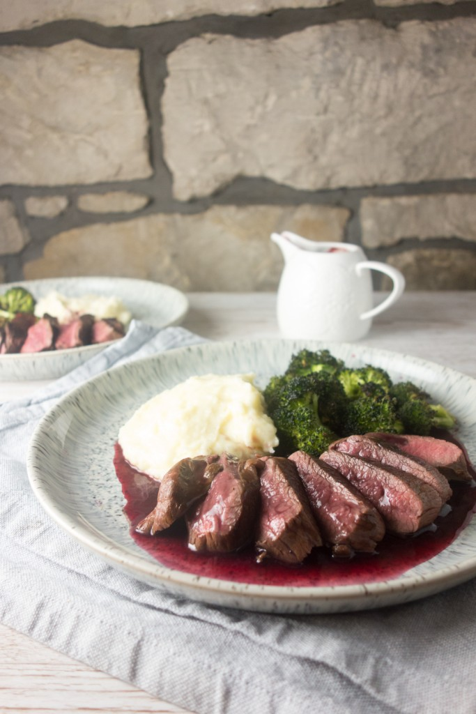 pan-fried venison red wine blackberry sauce