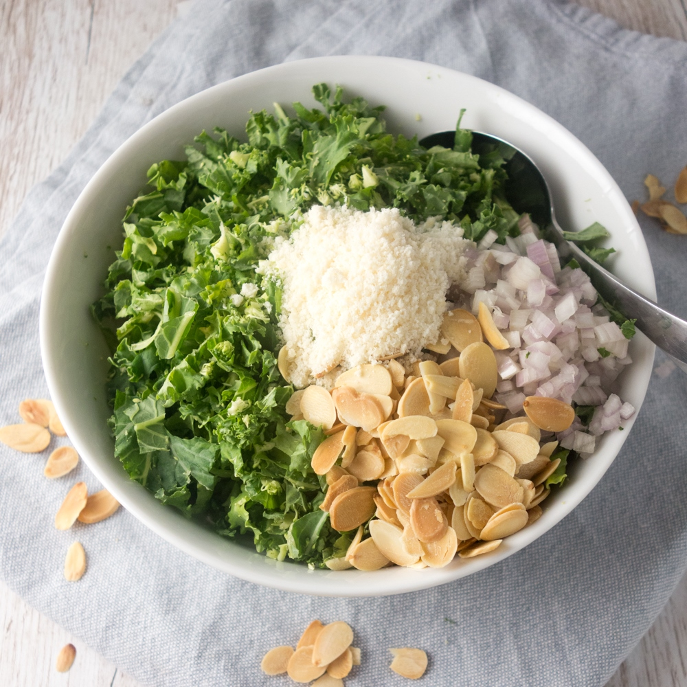 Toasted Almond and Parmesan Kale Salad