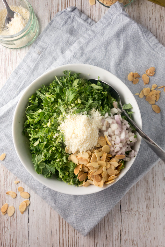 toasted almond parmesan kale salad
