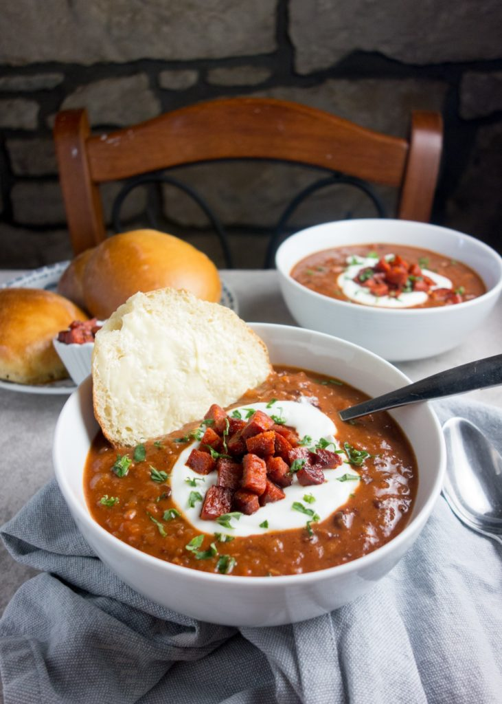 spicy chorizo bean soup