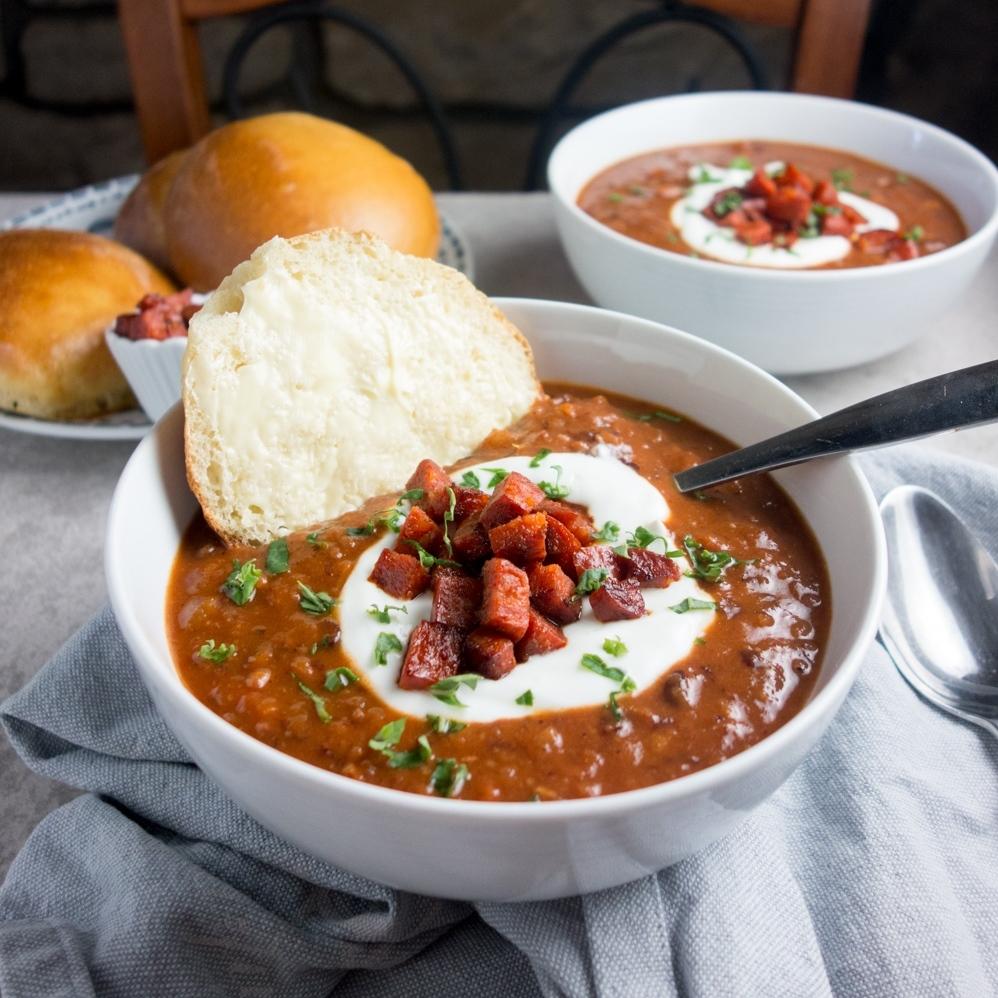 Spicy Chorizo Bean Soup