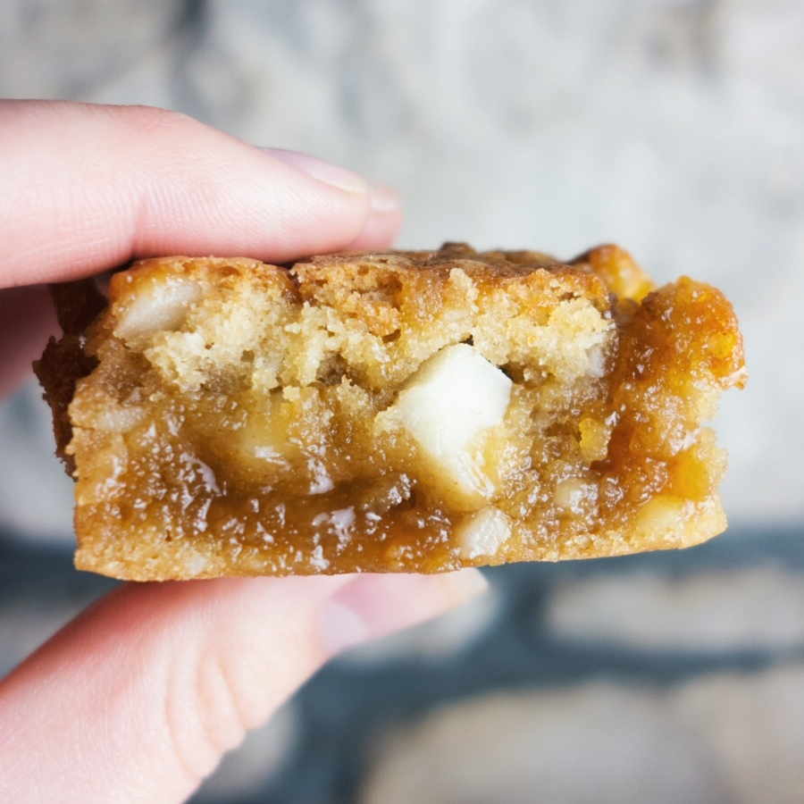 Salted Caramel Macadamia Blondies