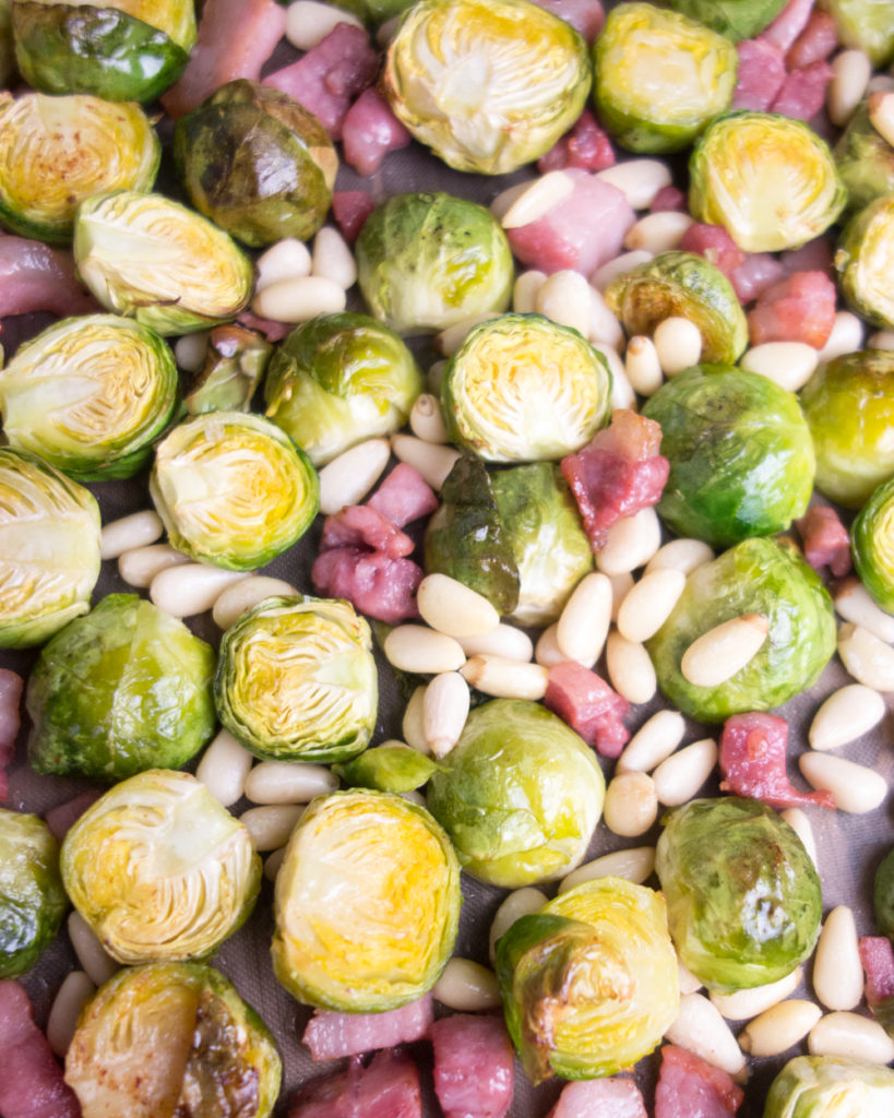 roasted brussel sprouts with pine nuts & pancetta
