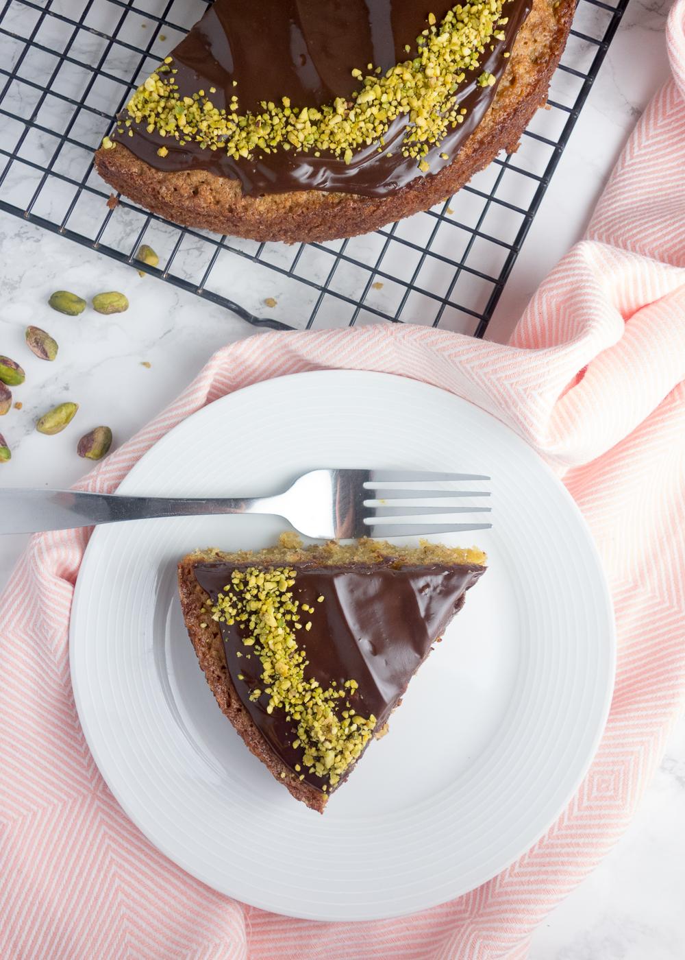 Raspberry Pistachio Topped Chocolate Cake