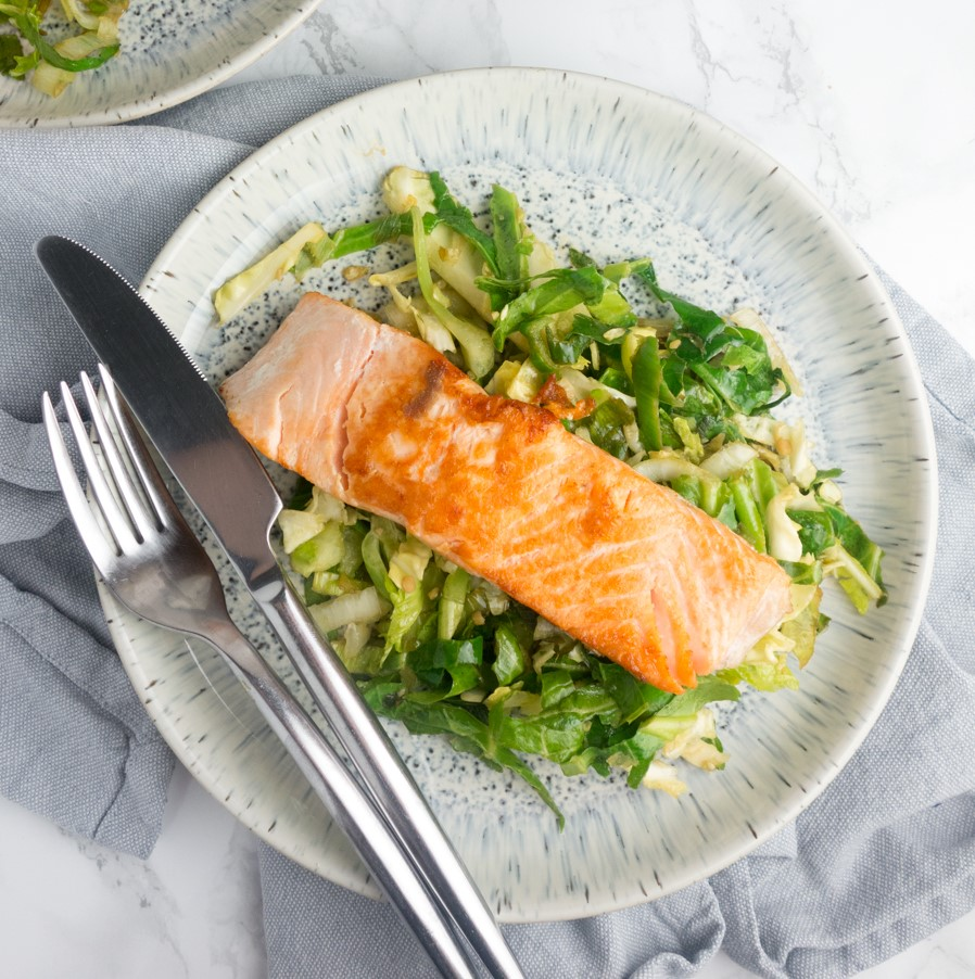 Pan-fried Salmon + Garlic Soy Greens