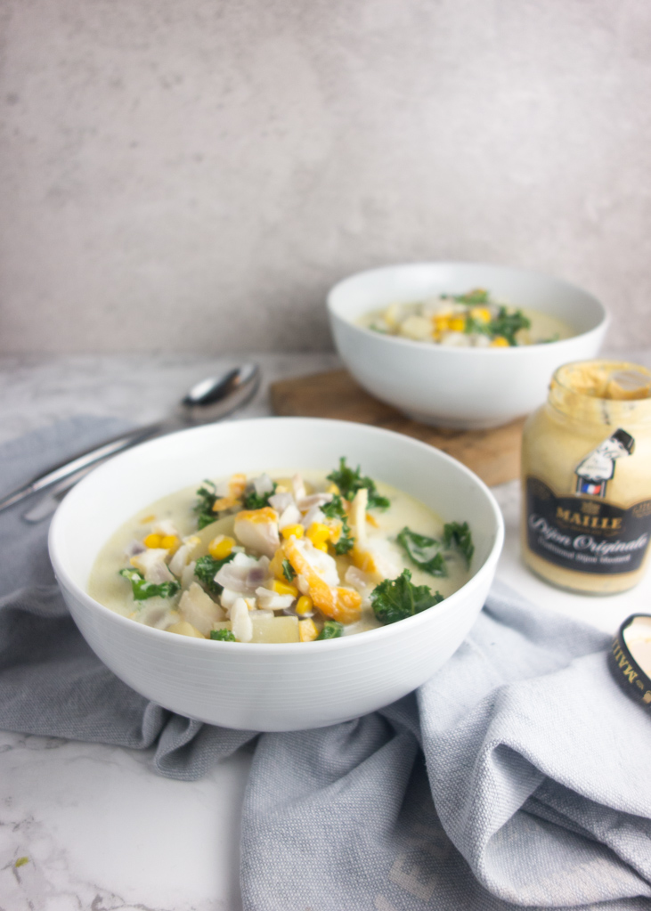 Smoked haddock potato chowder: Flavoured with mustard and garlic, this easy recipe makes a warming soup that's hearty enough for a full meal.