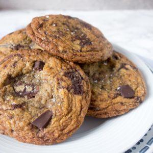 An easy recipe for brown butter chocolate chunk cookies that are rich, chewy and packed with chunks of chocolate! SO yum!