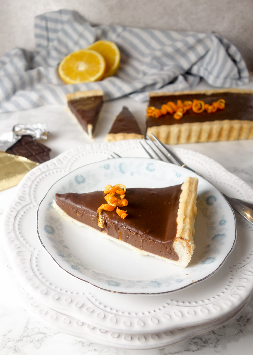 Chocolate Orange Tart: Shortcrust pastry with a light and creamy chocolate orange filling. The perfect make-ahead dessert!